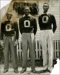 "Thumbnail of Jesse Owens, Dave Albritton and Mel Walker in their Varsity ""O"" sweaters, circa 1933-1936"