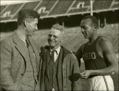 Thumbnail of Jesse Owens, Larry Snyder (left), and Tony Aquilla (center), posed for a portrait, 1935