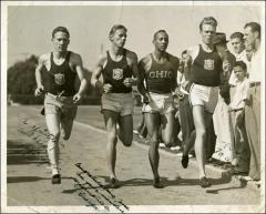 Thumbnail of Jesse Owens, Foy Draper, George Boone, and Al Fitch running side-by-side, 1935