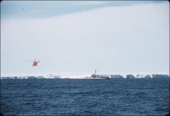 Thumbnail of Front of ice shelf, helicopter and icebreaker