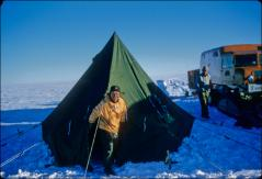 Thumbnail of William J. Cromie compares tent living to the floor of a sno-cat