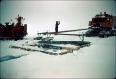Thumbnail of IGY traverse, sno-cat with crevasse detector