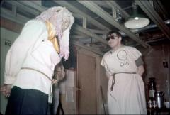 Thumbnail of Ltjg. Earl Hillis (right) and William J. Cromie star in an unofficial drama produced by the Little America Theater Group