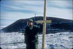 Thumbnail of William J. Cromie, direction sign, memorial cross in back