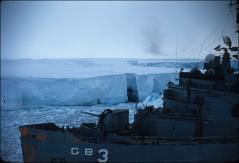 Thumbnail of Icebreaker USS Atka (AGB-3) at front of Ross Ice Shelf