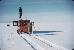 Thumbnail of Bert Crary (bottom) and Hugh Bennett scout Ross Ice Shelf