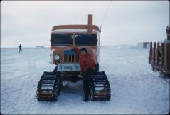 Thumbnail of William J. Cromie with sno-cat nic-named Tweety Pie