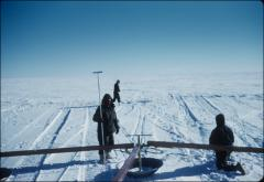 Thumbnail of Traverse crew checks detector behind suspected crevasse