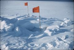 Thumbnail of Crevasse marked with flags