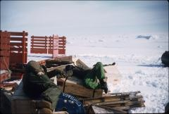 Thumbnail of Navy men relax while loading cargo sleds