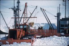 Thumbnail of Equipment transferred from ship to tractor-pulled sleds