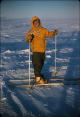 Thumbnail of William J. Cromie skiing on Ross Ice Shelf