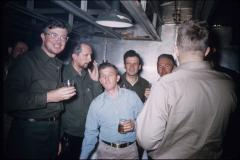 Thumbnail of Scientists relax after work. (Left to right) Herfried Hoinkes, Hans Bengaard, Sam Wilson, Vladimir Rostorguev and Ron Viets