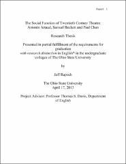 The Social Function Of Twentieth Century Theatre Antonin Artaud