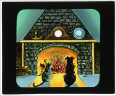 Thumbnail of Cat and dog at fireplace