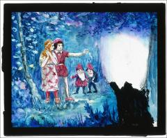 Thumbnail of Girl and boy with gnomes in forest