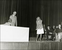 Thumbnail of Jesse Owens on stage at the Lincoln-Mercury Sports Panel, 1960s