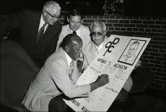Thumbnail of Jesse Owens signs a Spiro T. Agnew poster, 1968