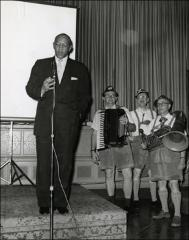 Thumbnail of Jesse Owens gives a speech at a banquet, 1960s