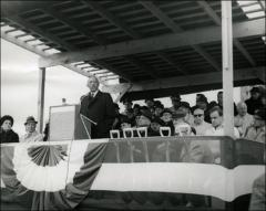 Thumbnail of Jesse Owens gives a speech at a ceremony, 1960s