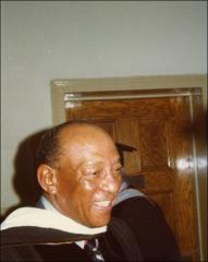 Thumbnail of Jesse Owens, (informal head and shoulder shot), before the OSU Autumn Commencement Ceremony, 1972