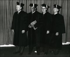 Thumbnail of Jesse Owens poses for a group shot at the OSU Autumn Commencement Ceremony, 1972