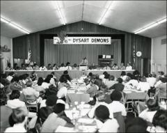 Thumbnail of Jesse Owens speaks in the cafeteria at a Dysart Public School, 1973