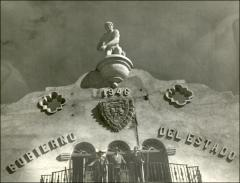 Thumbnail of A close-up of the athletic facility balcony in Chihuahua, Mexico, circa 1940s