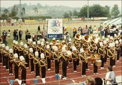 Thumbnail of A marching band plays at the ARCO Jesse Owens Games, 1970s