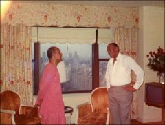 Thumbnail of Jesse Owens and Sri Chinmoy pose for a candid photo, 1970s