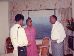 Thumbnail of Jesse Owens and Sri Chinmoy talk to an interviewer, 1970s