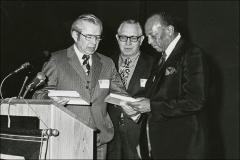 Thumbnail of P. James Onstad and Dale Olmstead present Jesse Owens with an honorary membership, 1972