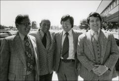 Thumbnail of Jesse Owens poses with other men at the A.B. Dick Offset Olympics Program, 1977-78