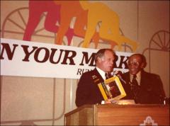 Thumbnail of Jesse Owens receives a gift from a running organization, 1979
