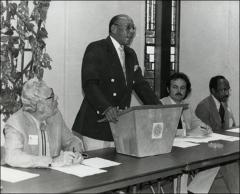 Thumbnail of Jesse Owens gives a speech at an unknown event, 1970s