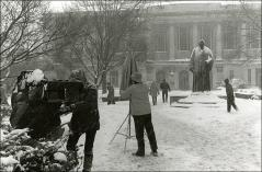 "Thumbnail of Crew film ""The Jesse Owens Story"" on the Oval in snow, 1984"