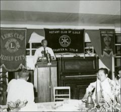 Thumbnail of Jesse Owens speaks to community leaders, Philippines, circa 1950s