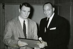 "Thumbnail of Howard ""Hopalong"" Cassady presents Jesse Owens with a certificate, 1956"
