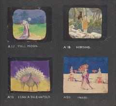 "Thumbnail of Kliegl Bros. ""pose slide"" design artwork (Slides A17, A18, A19, and A20)"