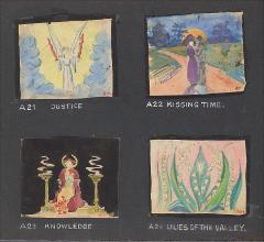 "Thumbnail of Kliegl Bros. ""pose slide"" design artwork (Slides A21, A22, A23, and A24)"