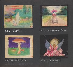 "Thumbnail of Kliegl Bros. ""pose slide"" design artwork (Slides A25, A26, A27, and A28)"