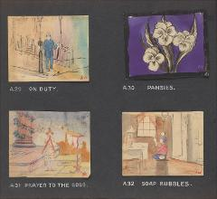 "Thumbnail of Kliegl Bros. ""pose slide"" design artwork (Slides A29, A30, A31, and A32)"