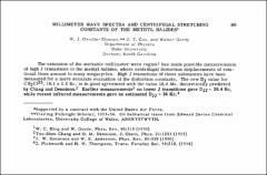 Thumbnail of MILLIMETER WAVE SPECTRA AND CENTRIFUGAL STRETCHING CONSTANTS OF THE METHYL $HALIDES^{*}$