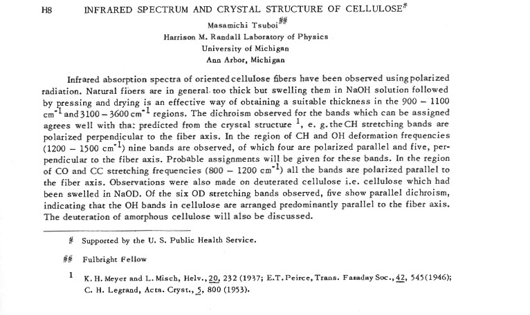 INFRARED SPECTRUM AND CRYSTAL STRUCTURE OF $CELLULOSE^{\#}$