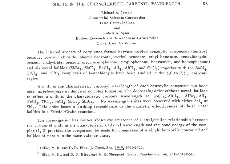 SHIFTS IN THE CHARACTERISTIC CARBONYL WAVELENGTH
