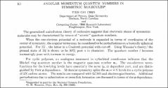 Thumbnail of ANGULAR MOMENTUM QUANTUM NUMBERS IN SYMMETRIC $MOLECULES^{*}$