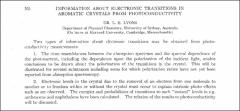 Thumbnail of INFORMATION ABOUT ELECTRONIC TRANSITIONS IN AROMATIC CRYSTALS FROM PHOTOCONDUCTIVITY