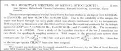 Thumbnail of THE MICROWAVE SPECTRUM OF METHYL $HYPOCHLORITE^{\dagger}$