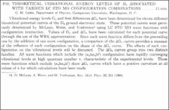 Thumbnail of THEORETICAL VIBRATIONAL ENERGY LEVELS OF $H_{2}$ ASSOCIATED WITH VARIOUS LC STO MO CONFIGURATION COMBINATIONS
