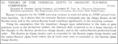 Thumbnail of THEORY OF NMR CHEMICAL SHIFTS IN AROMATIC FLUORINE COMPOUNDS